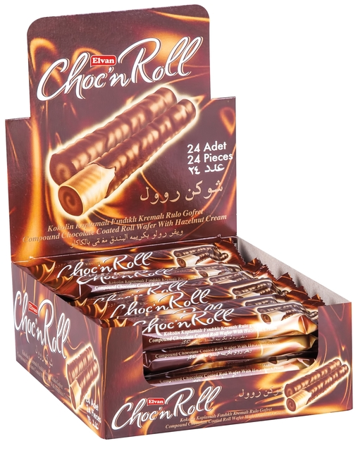 Elvan - Choc N Roll Kakao Kaplamalı Fındık Kremalı Roll Gofret 18 Gr. 24 Adet (1 Kutu)