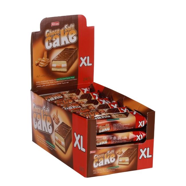 Elvan - Choco Soft Cake Karamelli 40 Gr. 24 lü (1 Kutu)