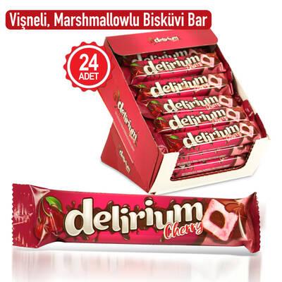 Delirium Sütlü Çikolatalı Marshmallowlu Vişneli Bar 28 Gr. 24 Adet (1 Kutu)
