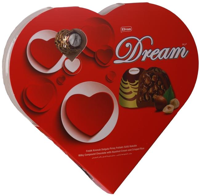 Elvan - Elvan Dream Fındıklı Çikolata 124 Gr. (1 Kalp Kutu)