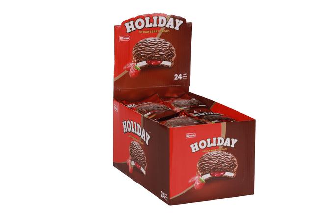 Elvan - Elvan Holiday Çilekli Sandviç Bisküvi 30 Gr. 24 lü (1 Paket)