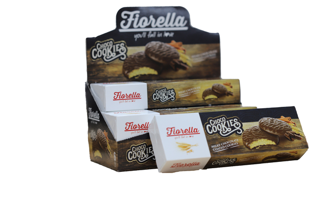 Fiorella - Fiorella Choco Cookies Çikolata Kaplamalı Karamelli Bisküvi 106 Gr. 6 Adet (1 Kutu)