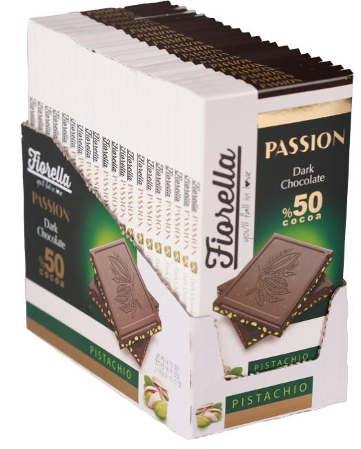 Fiorella - Fiorella Passion Fıstıklı Bitter Tablet Çikolata 100 Gr. 20 Adet (1 Paket)