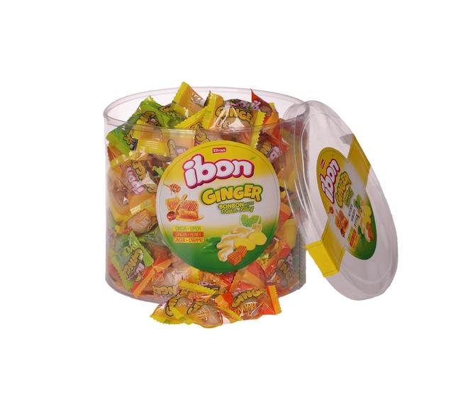 Elvan - Ibon Ginger Zencefilli Şeker 1000 Gr. Silindir (1 Kutu)