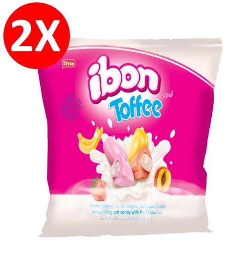 Elvan - Ibon Toffee Sütlü Meyveli Şeker 300 Gr. 2 li Paket