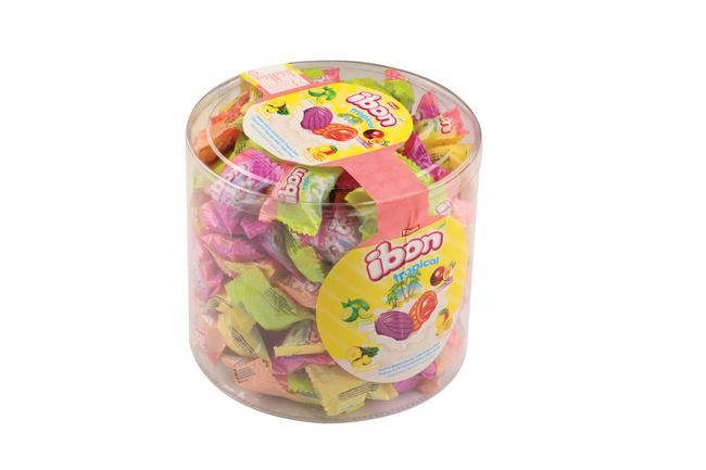 Elvan - Ibon Tropical Sütlü Meyveli Şeker 1000 Gr. Silindir (1Kutu)
