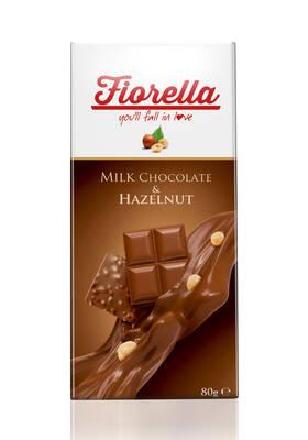 Fiorella Sütlü Çikolata Tablet Fındıklı 80 Gr. 10'lu (1 Kutu)