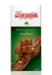 Fiorella - Fiorella Sütlü Çikolata Tablet Fıstıklı 80 Gr. 10'lu (1 Kutu)