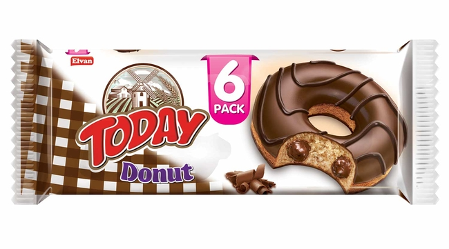 Elvan - Today Donut Kakaolu Kek Multipack 50 Gr. 6 Adet (1 Paket)