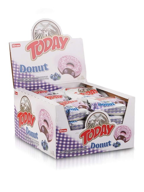 Elvan - TODAY Donut Kek Yabanmersinli 40Gr. 24 Adet (1 Kutu)