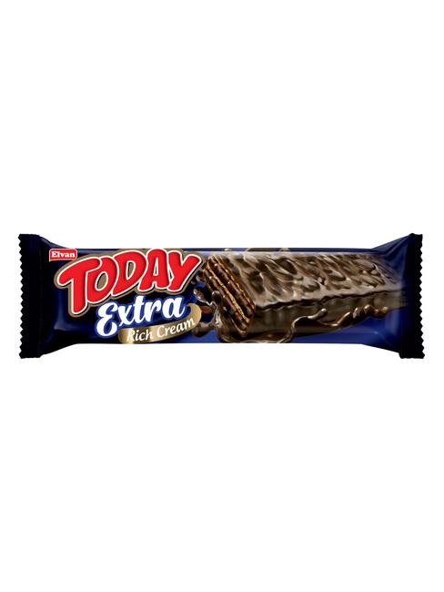 Elvan - Today Extra Bitter Çikolata Kaplamalı Bol Kremalı Gofret 45Gr. 1 Adet