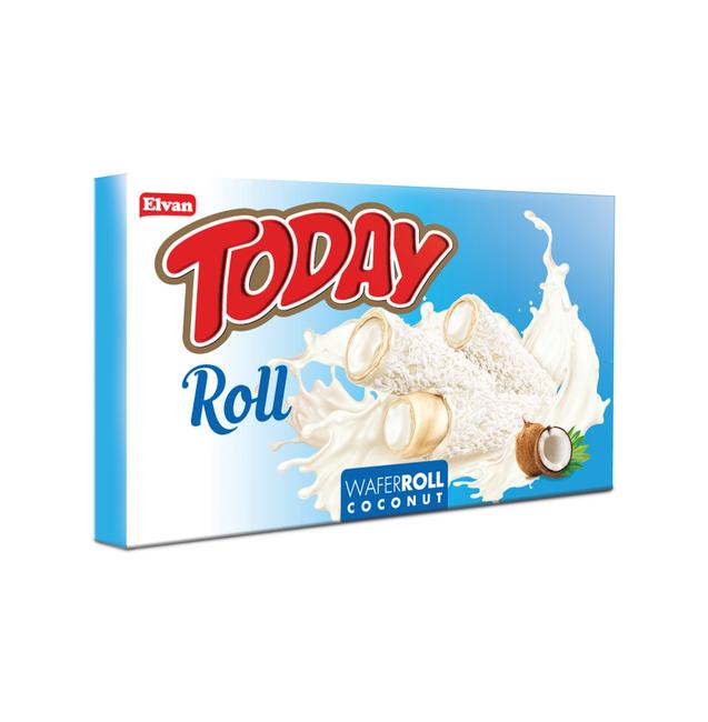Elvan - Today Roll Beyaz Kaplamalı Hindistan Cevizli Gofret 180 Gr. (1 Paket)