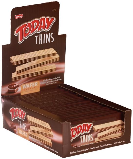 Elvan - Today Thins Gofret Çikolatalı 65Gr. 24 Adet ( 1 Kutu )